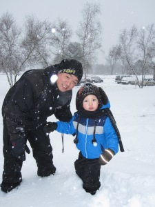 Me and Derek going sledding