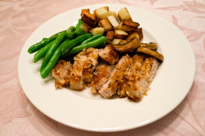 All About The Food – Pork Chops, Potatoes, Green Beans and Mushrooms