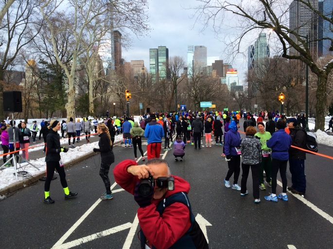 This NYRR photographer wanted to take a picture of me taking a picture with my cell phone.