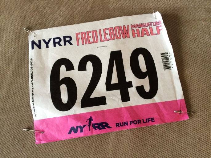My NYRR Fred Lebow Marathon Half bib number.