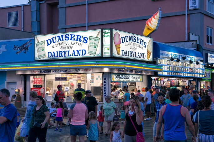 Ice cream, funnel cake, and fries are things you must have when walking down the boardwalk.