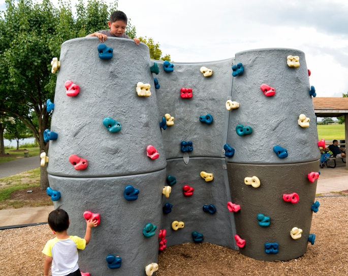 Cool rock climbing wall for the kids.
