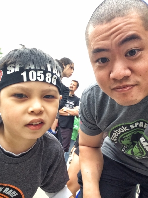 Not a fan of selfies, but had to take one with D before the kids Spartan Race.